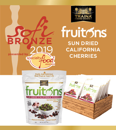 Traina Foods fruitons Sun Dried California Cherries Win the 2019 sofi Bronze Trophy!