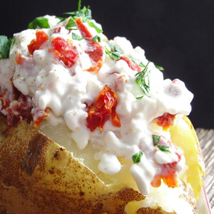 Baked Potato with California Sun Dried Tomato Topping