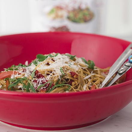 Pasta with Seasoned Sun Dried Tomato Topping