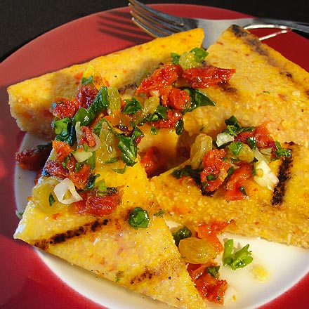 Polenta topped with California Sun Dried Tomtoes