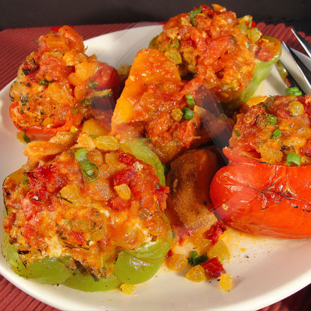 Stuffed Bell Peppers with California Sun Dried Tomatoes