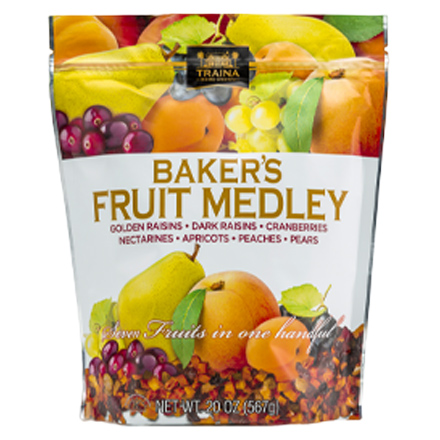 dried bakers fruit medley packaged in a 20 ounce resealable bag