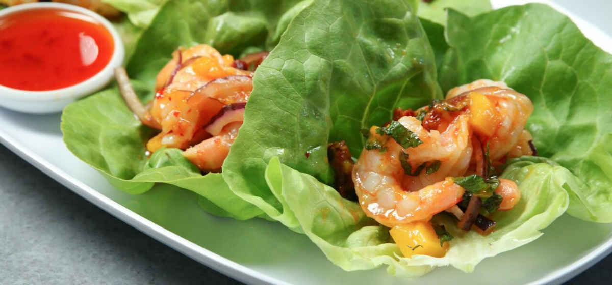 Sun Dried Tomatoes and Sun Dried Tomato Olive Oil Featured in Shrimp Lettuce Wraps