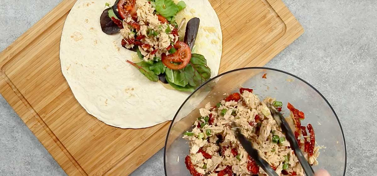 Tuna Salad Wrap with Sun Dried Tomatoes