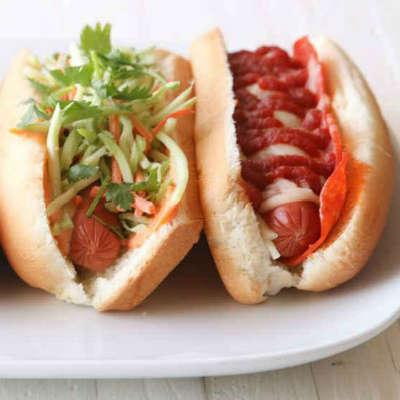 Unique hot dog toppings with sun dried tomato ketchup