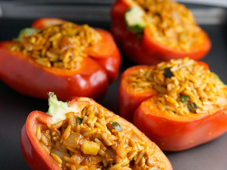 Cheesy Orzo Stuffed Peppers