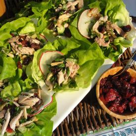 Lettuce Chicken Wraps with Sun Dried Cherry Dressing