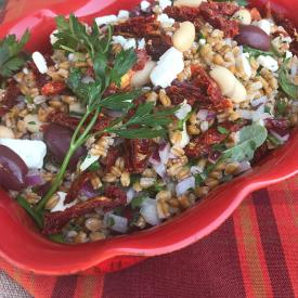 Greek Farro Salad with Sun Dried Tomatoes