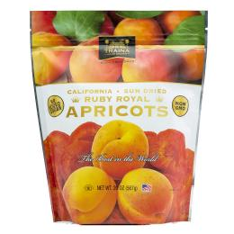 dried ruby royal apricot halves packaged in a 20 ounce resealable bag