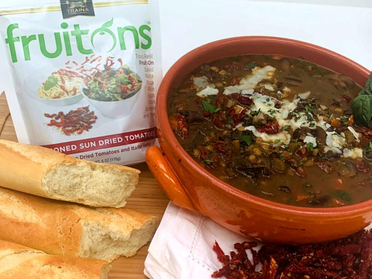 Hearty Winter Soup with fruitons® Seasoned Sun Dried Tomato