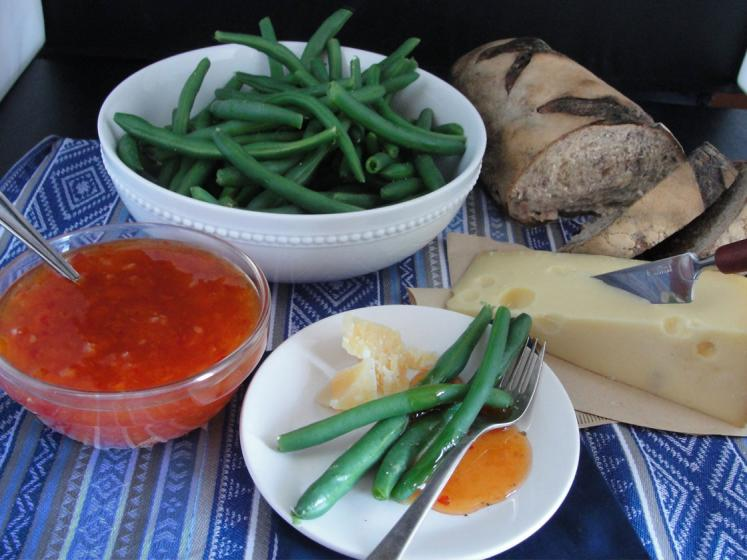 Hot & Sweet Sun Dried Apricot Dip With Green Beans