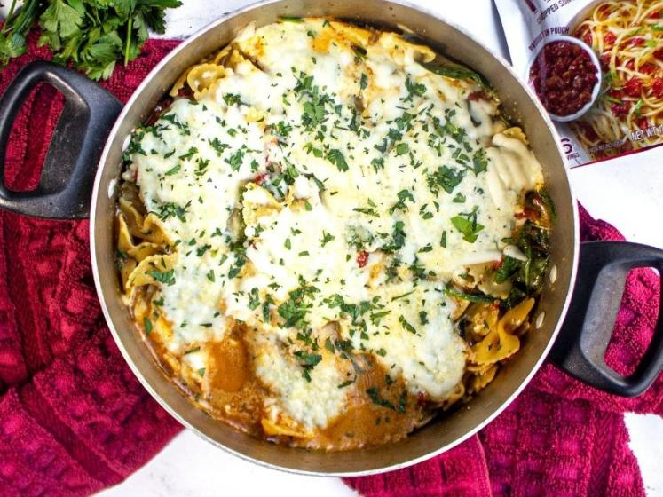 Skillet Lasagna Made with Tuscan Herb Pasta Toss